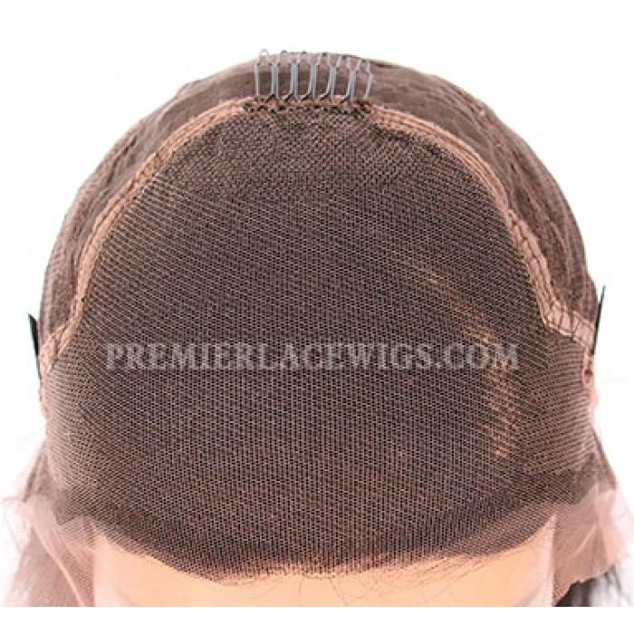 "Gray Hair Dark Roots Bob Cut,4.5"" Lace Front Wig"