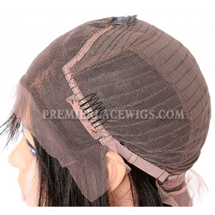 "Italian Yaki Thick Hair Bob Brown Highlights Color,4.5"" Deep Middle Part Pre-Plucked Lace Front Wig"