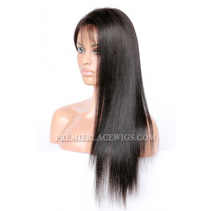 "Indian Remy Hair Natural Color 20inches Light Yaki,4.5"" Super Deep C Side Part Lace Front Wigs"