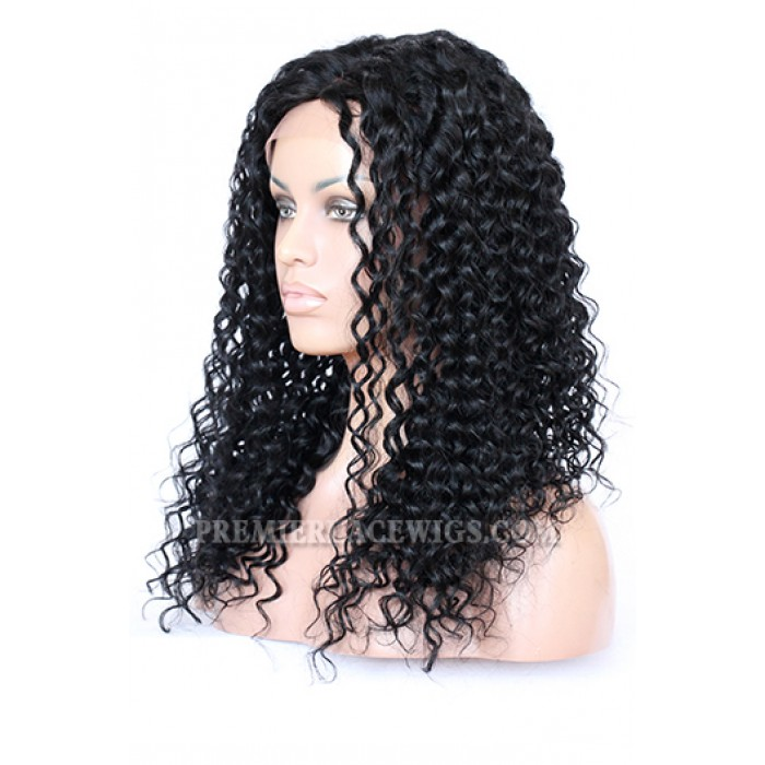 "Indian Remy Hair Big Curl,4.5"" Super Deep Middle Part Lace Front Wigs"