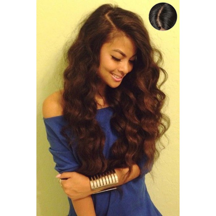 """Indian Remy Hair Wavy,4.5"""" Super Deep C Side Part Pre-Plucked Lace Front Wigs"""