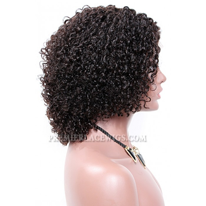 """Permanent Root To Tip Kinky Curls Type 3C,4.5"""" Deep Part Pre-Plucked Lace Front Wig"""