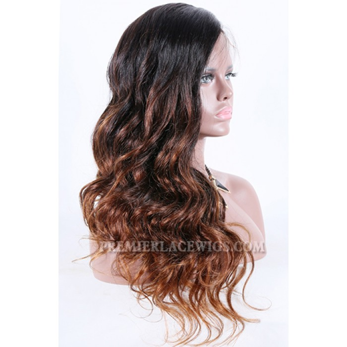 "Long Style Brown Ombre Color Thick Wavy Hair,4.5"" Deep C Side Part Pre-Plucked Lace Front Wig"