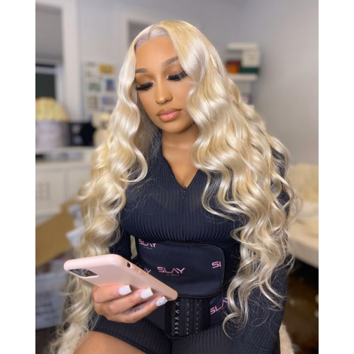 """#613 Blonde Hair 13""""x4"""" Lace Frontal Wigs Body Wave"""