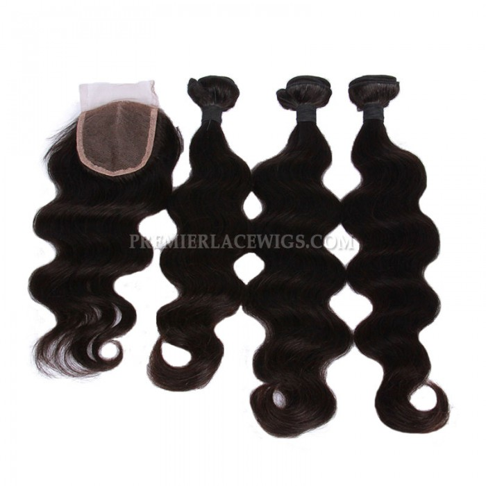 Peruvian Virgin Hair Body Wave A Lace Closure With 3 Bundles Deal