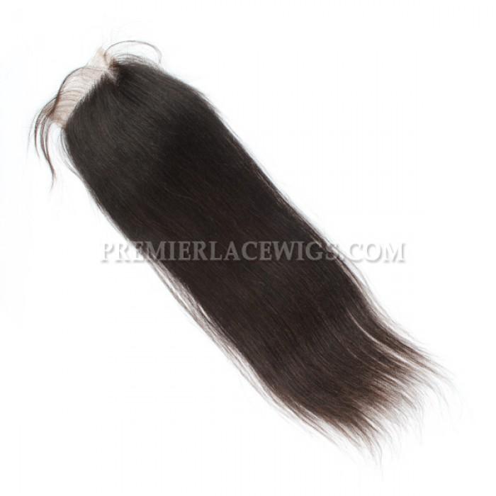 Brazilian Virgin Hair Lace Closure Natural Color Yaki Straight 4x4inches