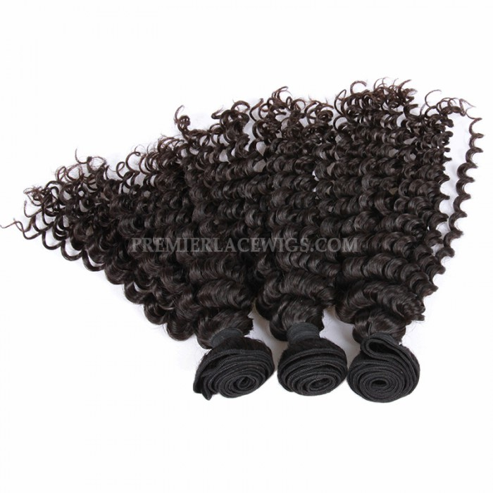 3 Bundles Deal Peruvian Virgin Hair Natural Color Deep Wave Hair Extension