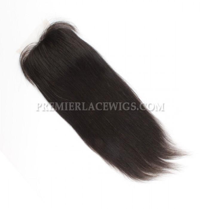 Indian Virgin Hair Silk Base Closure 4x4inches Yaki Straight