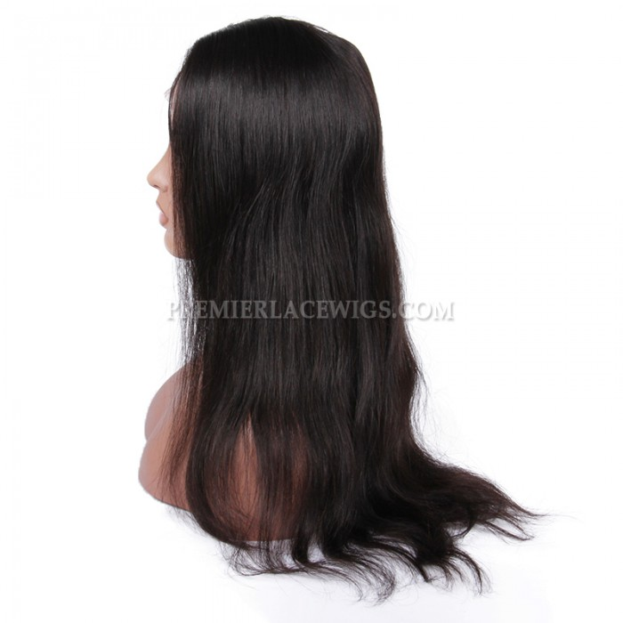 Brazilian Virgin Hair Glueless Silk Top Lace Front Wigs Natural Straight