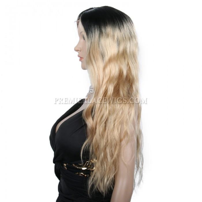 180% Density ,Ciara Long Ombre Blonde Style Wavy Virgin Hair Lace Wigs