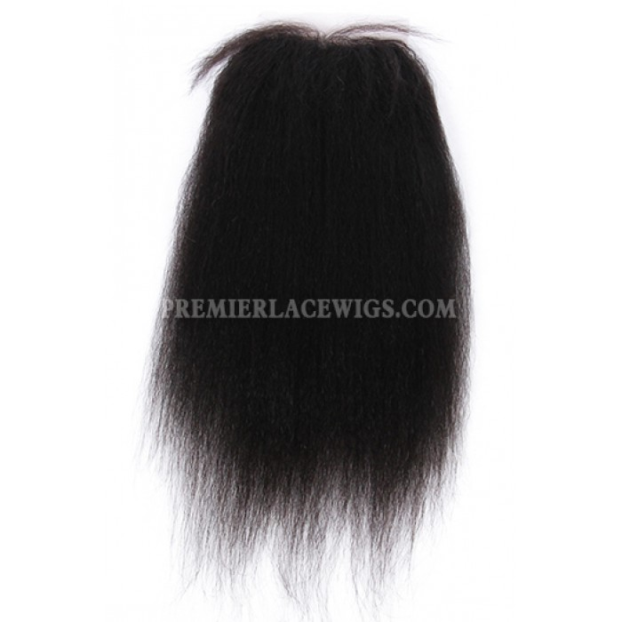 Kinky Straight Virgin Indian Human Hair Extension A Silk Top Closure With 4 Bundles Deal
