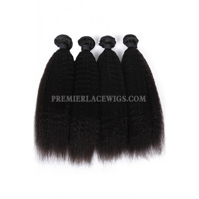 Kinky Straight Virgin Indian Human Hair Extension A Silk Base Closure with 3 Bundles Deal