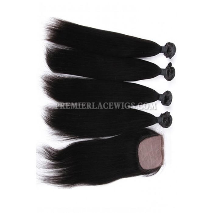 Light Yaki Virgin Indian Human Hair Extension A Silk Top Closure With 4 Bundles Deal