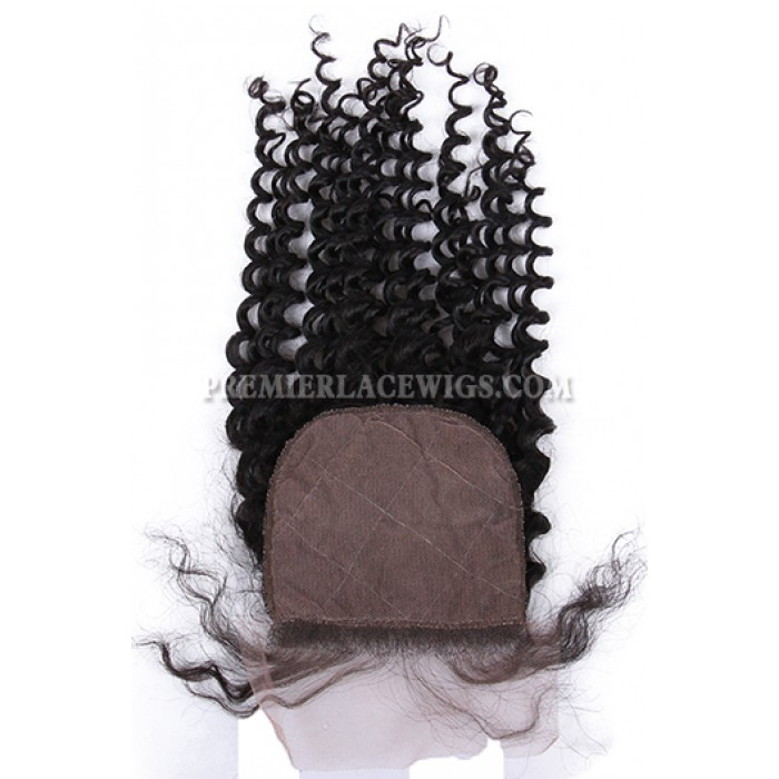Deep Wave Virgin Indian Human Hair Extension A Silk Top Closure With 4 Bundles Deal