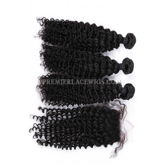 Deep Wave Virgin Indian Human Hair Extension A Silk Base Closure with 3 Bundles Deal