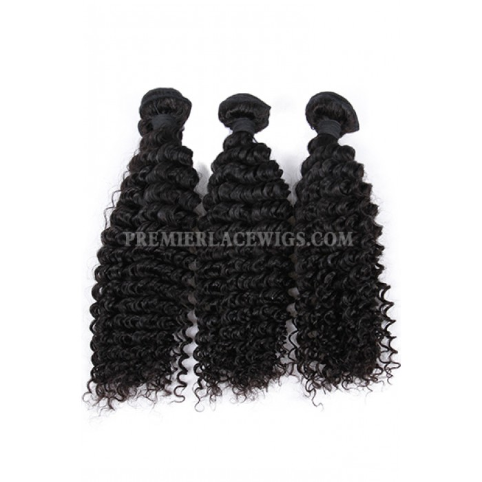 Indian Virgin Human Hair Deep Wave A Lace Closure With 3 Bundles Deal