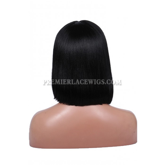 Rihanna Cute Short Bob Black Hair Full Bangs Lace Wigs