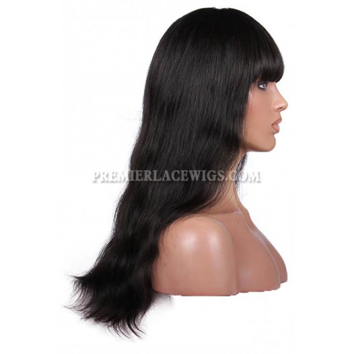 Natural Straight Full Bangs Wig Indian Remy Hair With Natural Looking Silk Top Hair Whorl