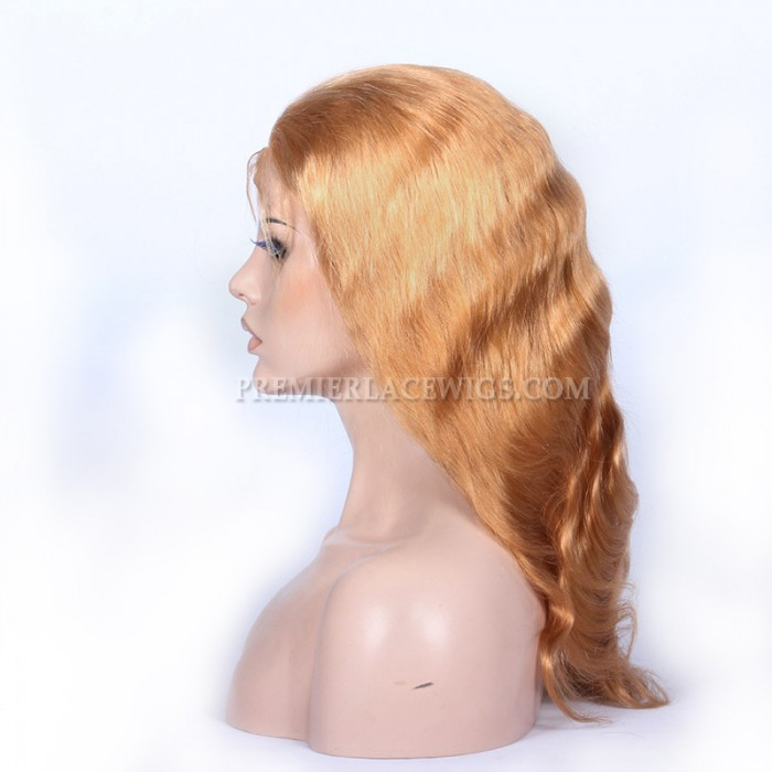 27# Blonde Color Chinese Virgin Hair Body Wave Full Lace Wigs