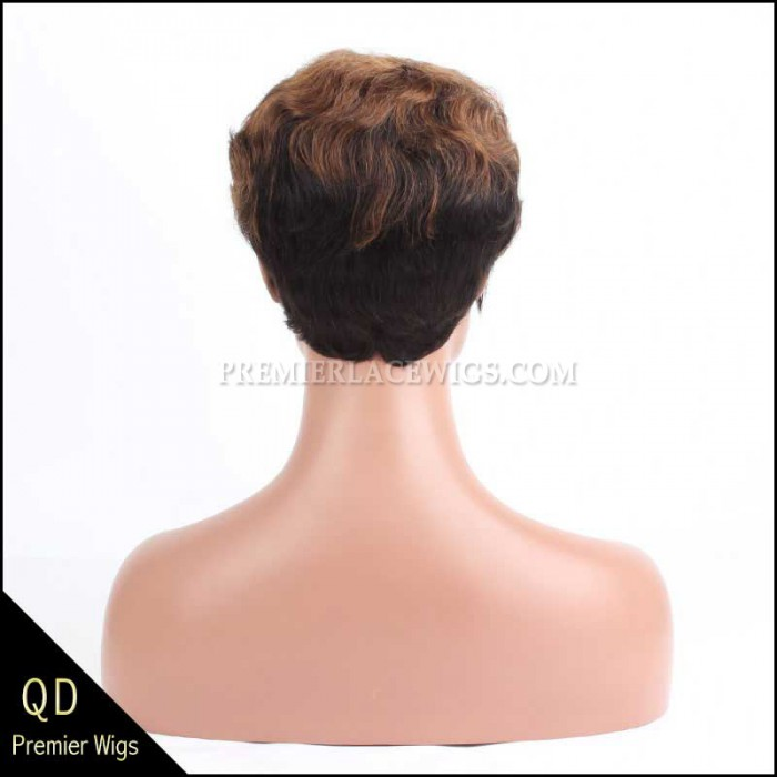 Short Wavy Indian Remy Hair Machine Made Glueless Cap Wigs