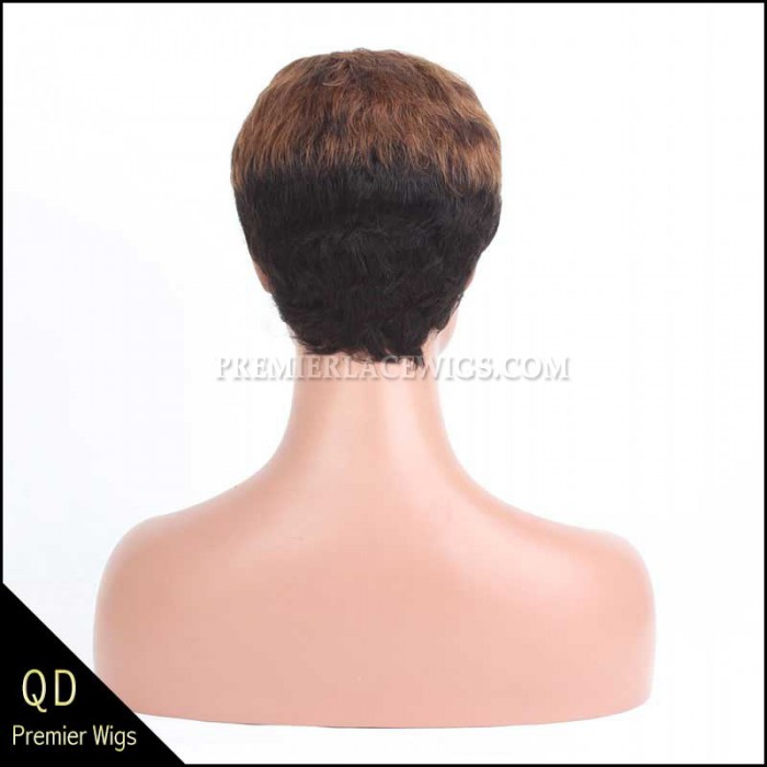 Short Ombre Color Indian Remy Hair Machine Made Glueless Cap Wigs PWHH-13-1001