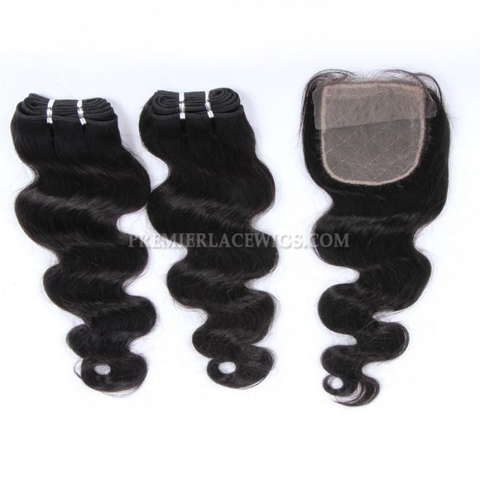Brazilian Virgin Hair Weave 4ozs thick Hair Body Wave A Silk Base Closure with 2 Bundles Deal