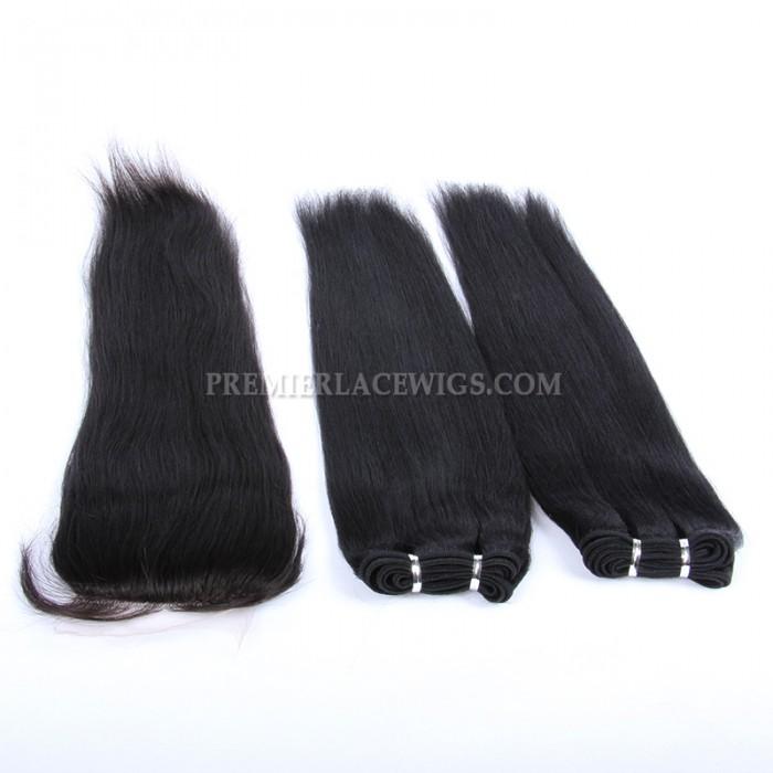 A Silk Base Closure with 2 Bundles Deal Brazilian Virgin Hair Weave Light Yaki