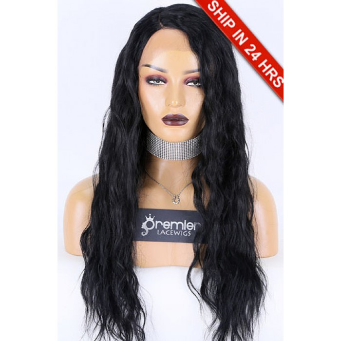 Glueless Lace Front Wig Body Wave,Indian Remy Hair 22 inches,1B#,130% Density,Average Size