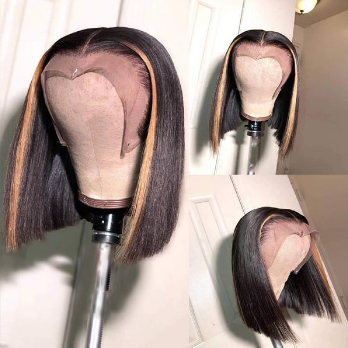 Highlight Hair Bone Straight Blunt Cut Bob