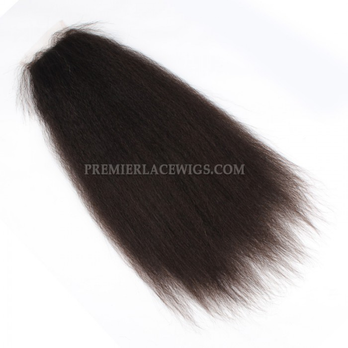 Peruvian Virgin Hair Silk Base Closure 4x4inches Kinky Straight