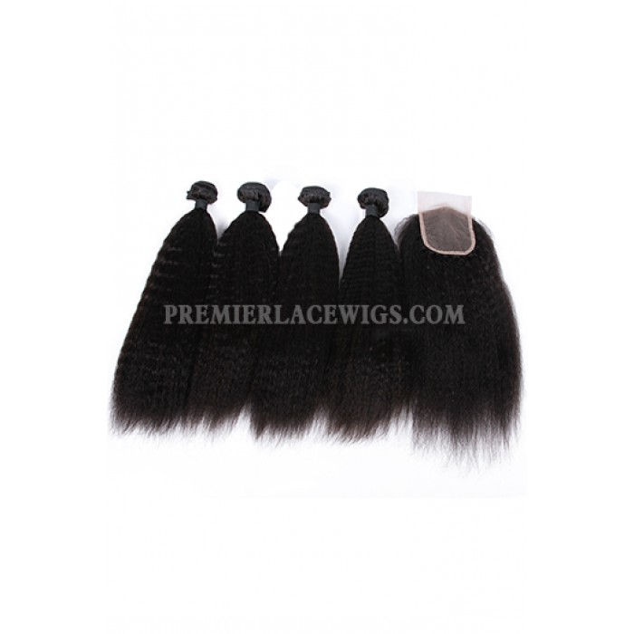 Kinky Straight Virgin Indian Human Hair Extension A Lace Closure With 4 Bundles Deal
