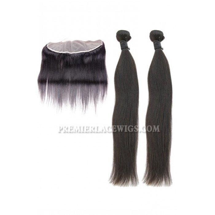 Indian Virgin Hair Silky Straight Lace Frontal with 2 Weaves Bundles Deal