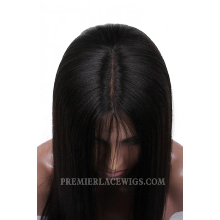 Indian Remy Hair Middle Part Natural Straight Natural Looking Glueless Silk Part Lace Wigs