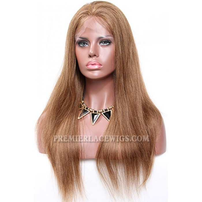 6/8# Blending Brown Color Lace Front Wigs Indian Remy Human Hair Light Yaki