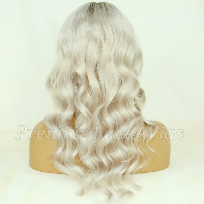 Dark Roots Ash Blonde Wavy Hair