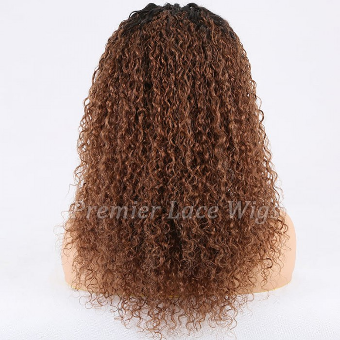 Super Deal 18 inches Lace Front Wig Curly Brown Hair