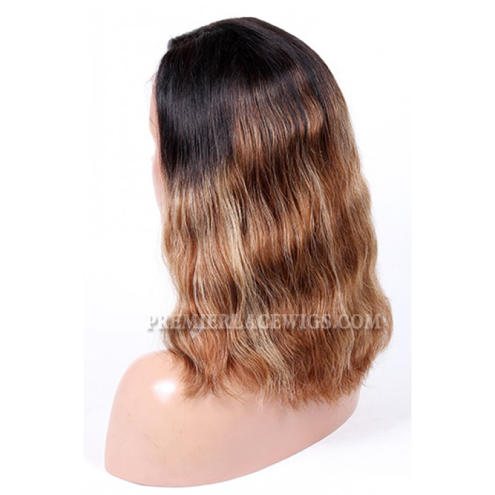 Indian Remy Hair Side Part Bob Ombre Highlights Color Natural Wave 130% Density Glueless Lace Part Wigs