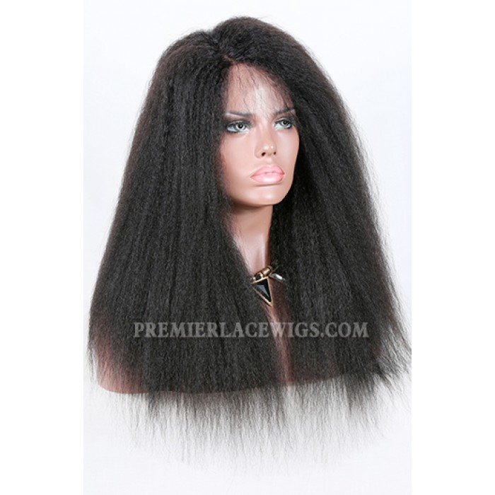 Kinky Straight Indian Remy Hair Affordable Side Part Lace Wigs,1B# 18 inches,150% Thick Density