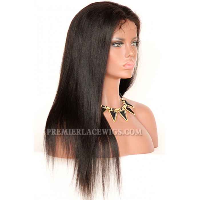 Indian Remy Hair Full Swiss Lace Wigs Light Yaki