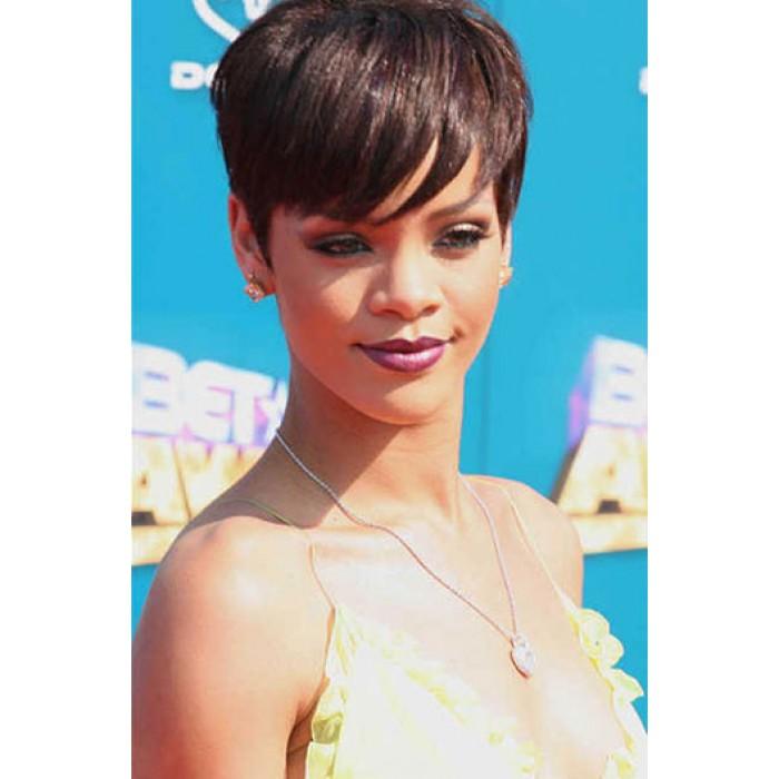Rihanna Side-Swept fringe Short Style Indian Remy Hair Machine Made Glueless Cap Wigs