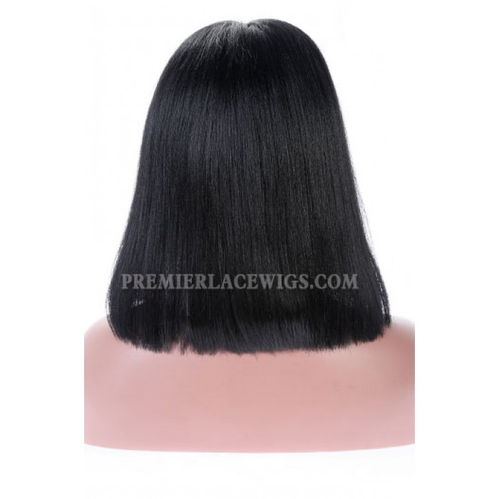 Full Lace Wigs Blunt Cut Bob with Full Bangs,Chinese Virgin Hair Yaki Straight,1#,14inches,small size,120% normal density