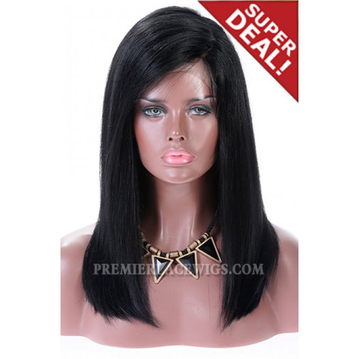 Full Lace Wigs C Side Part Blunt Cut Long Bobchinese Virgin Hair