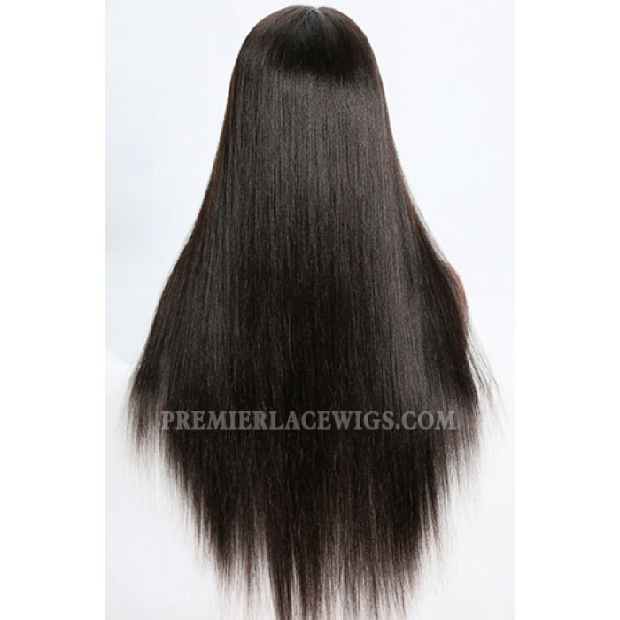 Full Lace Wig Indian Remy Hair Light Yaki 2# 24 inches,Medium Size,130% Normal Density,Light Brown Lace