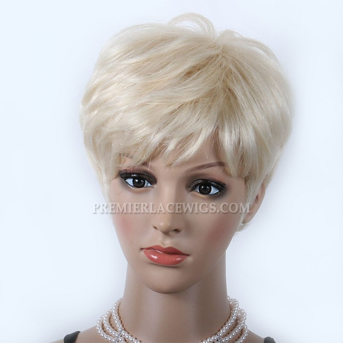 Blonde Human Hair Short Style Affordable Machine Made Glueless Cap Wigs