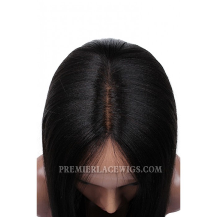 Indian Remy Hair Side Part Yaki Straight Natural Looking Glueless Silk Part Lace Wigs