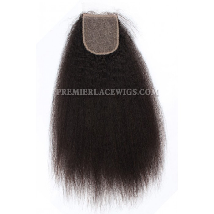 Brazilian Virgin Hair Silk Base Closure 4x4inches Kinky Straight