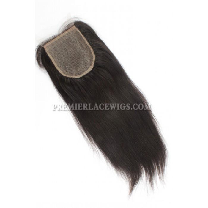 Peruvian Virgin Hair Silk Base Closure 4x4inches Yaki Straight