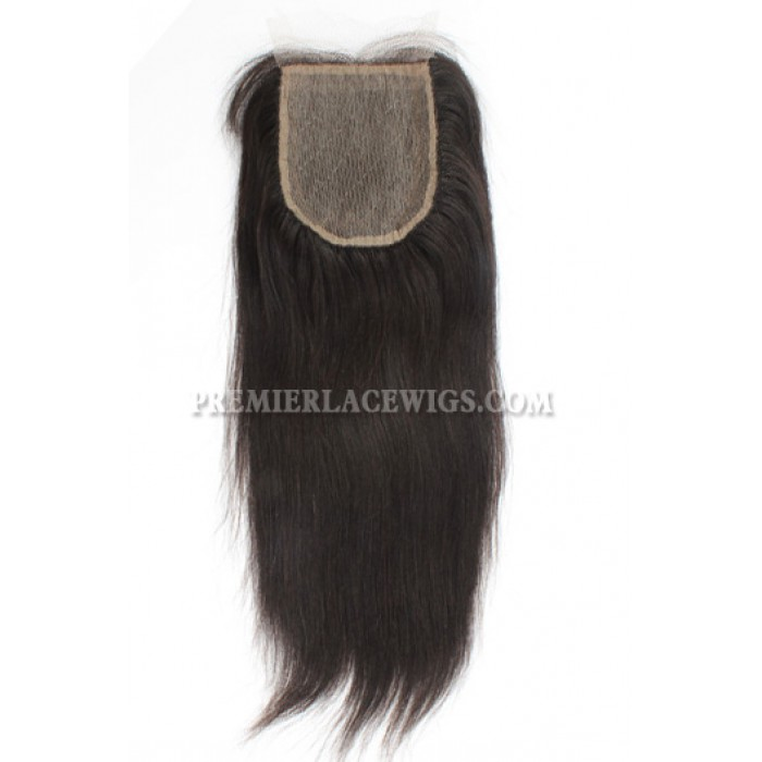 Brazilian Virgin Hair Silk Base Closure 4x4inches Yaki Straight