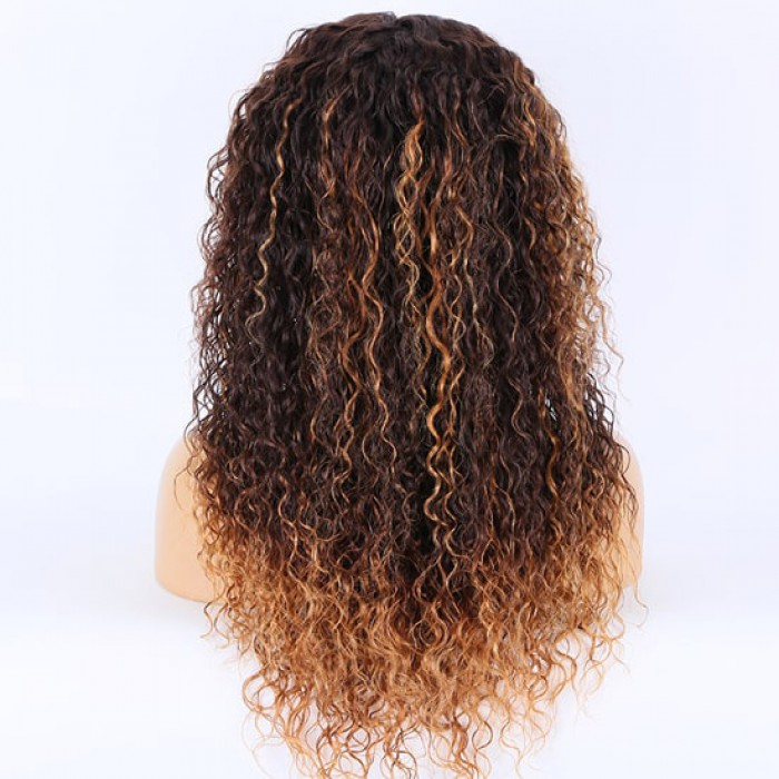 "-Transparent HD 3.5""*4"" Lace Closure Wig,Blonde Ombre Yaki Curly"