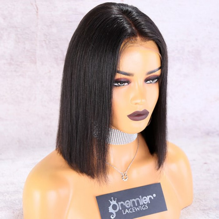 """13""""x6"""" Lace Frontal Wig,Middle Part Yaki Textured Bob"""